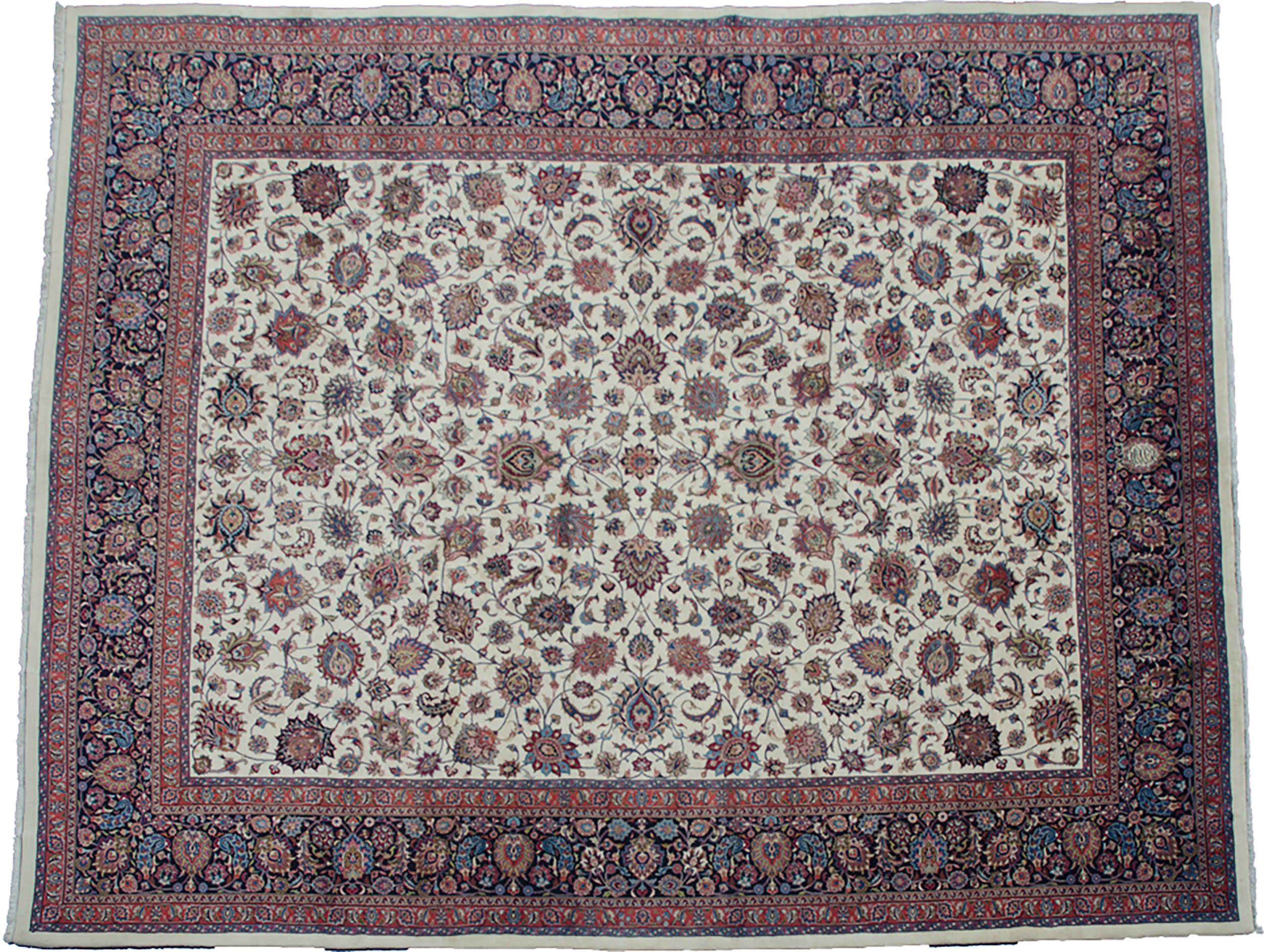 "Vintage ""Astane Ghods"" Mashad Carpet 492x396cm"