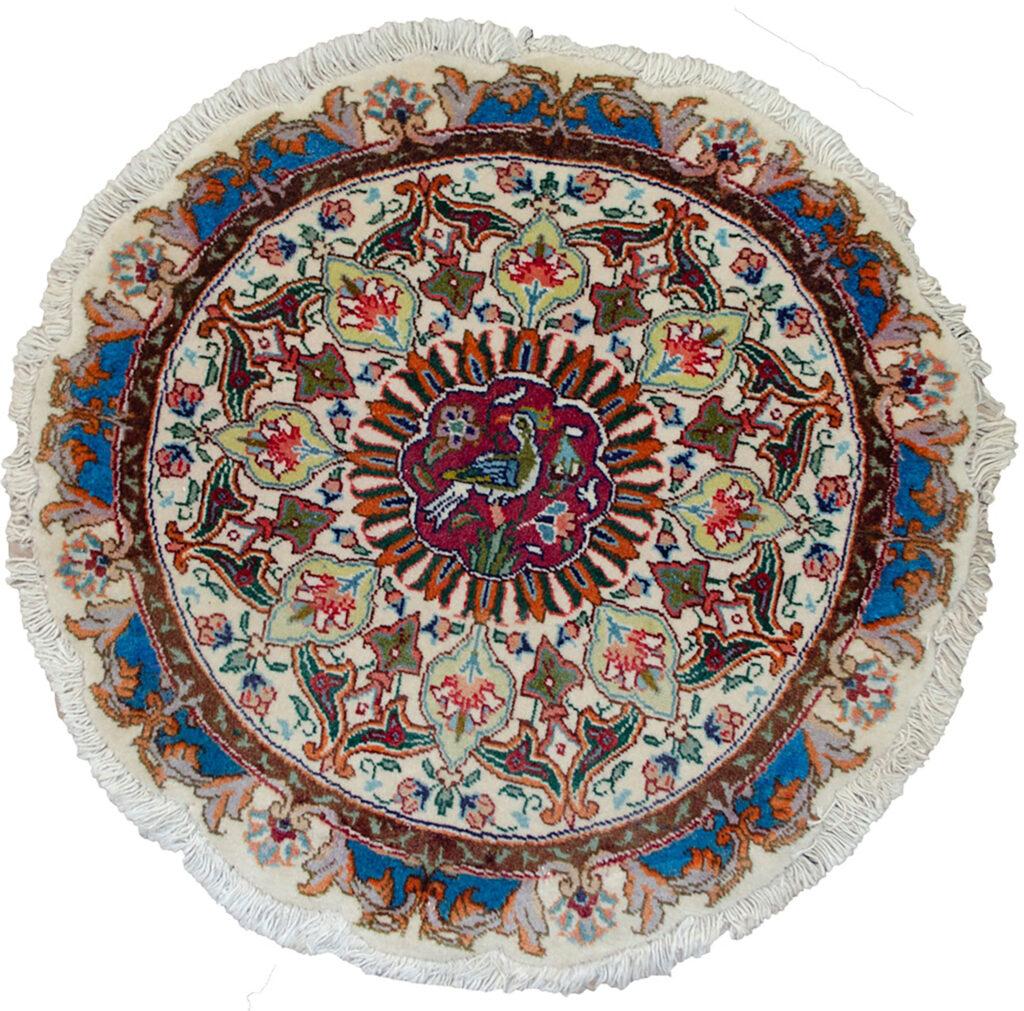 Vintage Tabriz Circular Rug 47x47cm