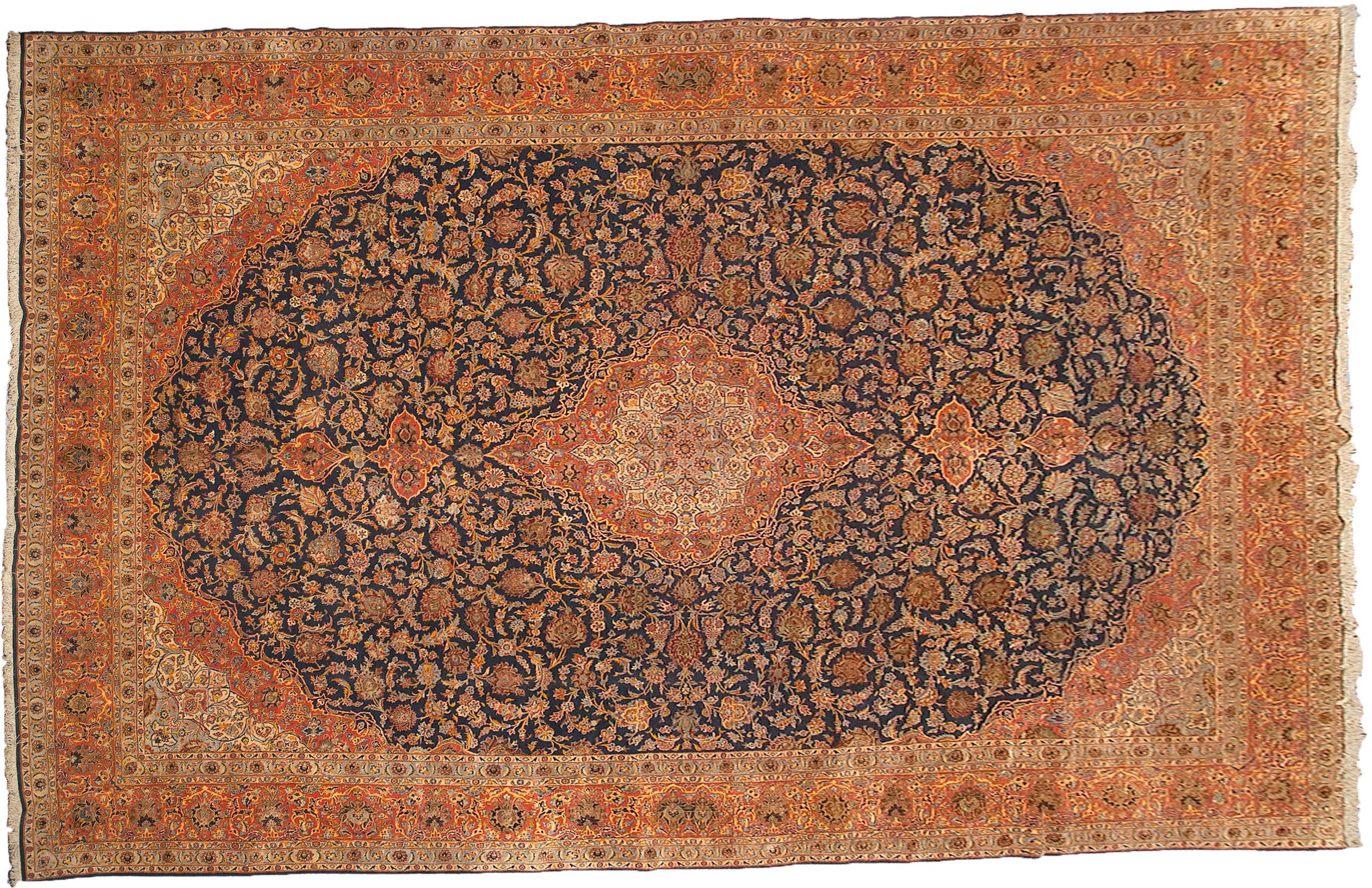 Vintage Part Silk Kashan Carpet 577x375cm