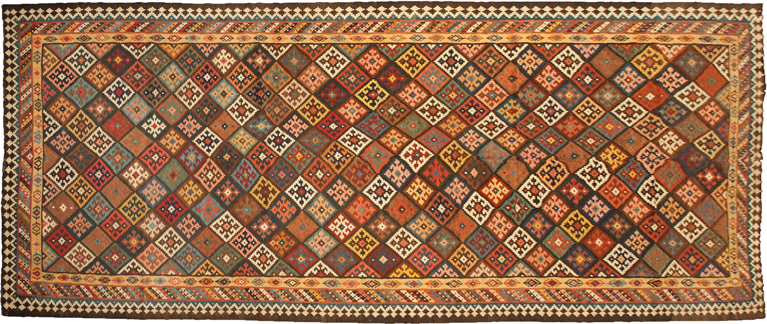 Antique Bakhtiar Kilim Carpet 528x215cm