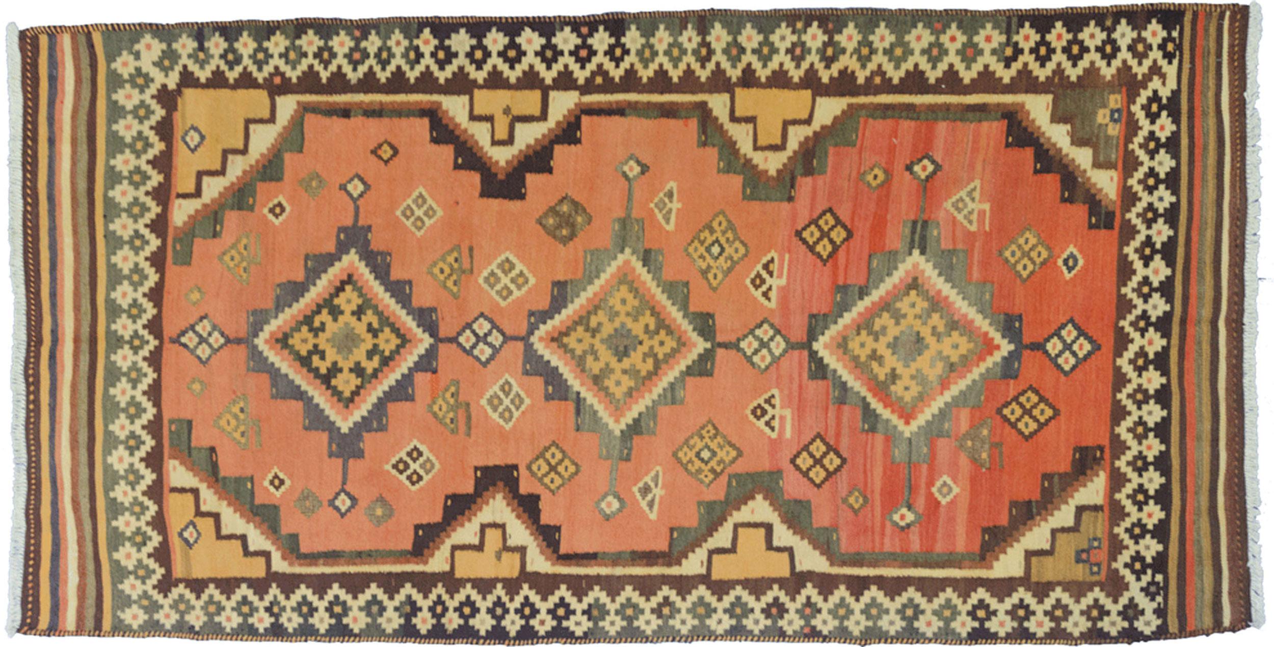 Vintage Qashqai Kilim Rug 251x128cm