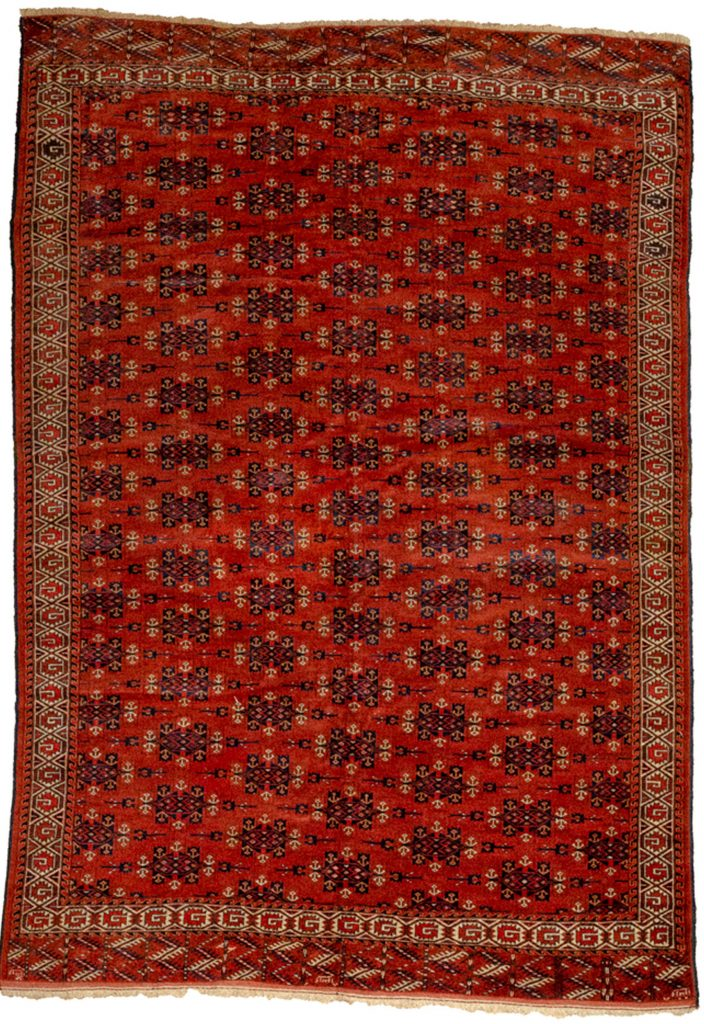 Antique Turkmen Yamoud Carpet 293x202cm