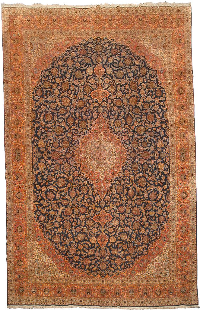Vintage Part Silk Kashan Carpet 577x375cm