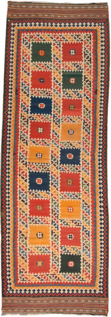 Antique Qashqai Kilim Runner 384x115cm