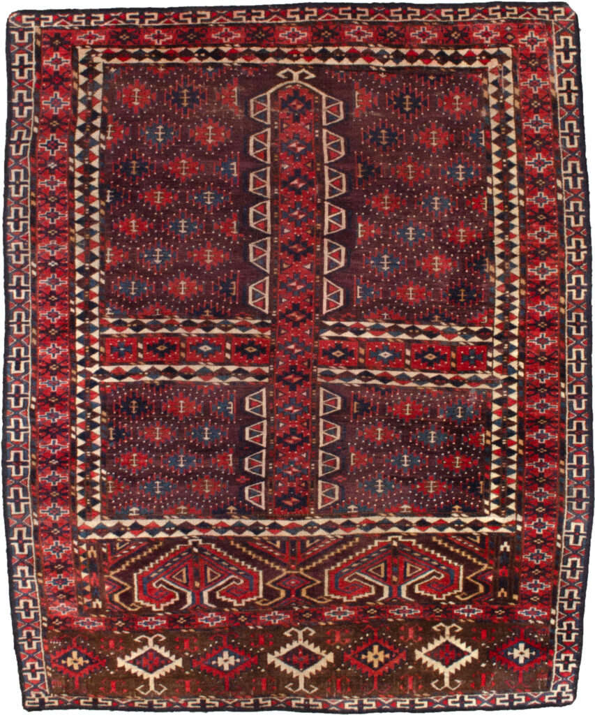 Antique Turkmen Pardeh Rug 164x135cm