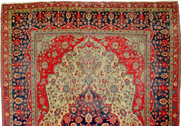 Antique Kashan Mohtasham Rug 205x147cm
